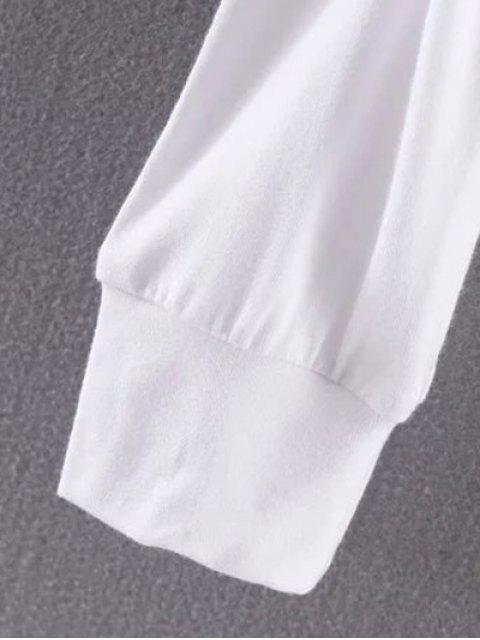 T-shirt couleur unie single-breasted col rond manches longues - Noir L Mobile