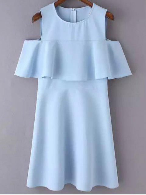 hot Cutout Shoulder Ruffles Sundress - BLUE L Mobile