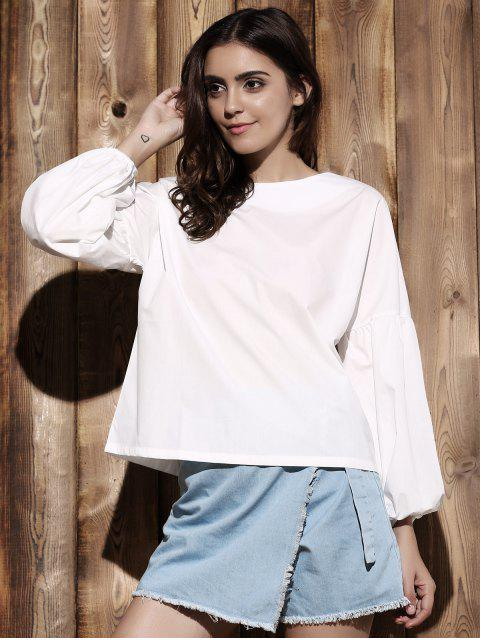 fashion Puff Sleeve Round Collar Solid Color Blouse - WHITE XL Mobile
