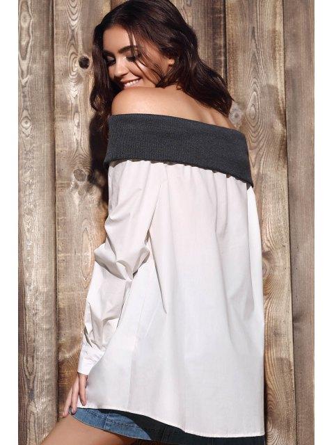 online Loose Hit Color Long Sleeve Off The Shoulder Shirt - WHITE S Mobile
