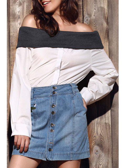 online Loose Hit Color Long Sleeve Off The Shoulder Shirt - WHITE S Mobile