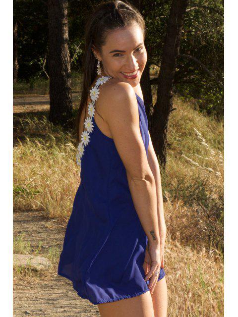trendy Daisy Strap Low Back Sun Dress - PURPLISH BLUE S Mobile