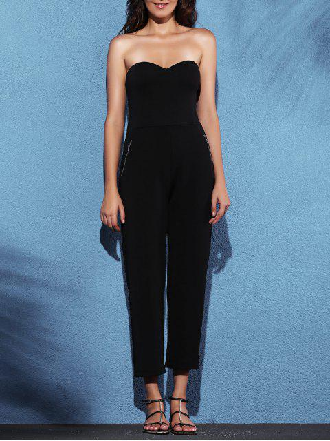 fancy Zippered Fitted Bandeau Jumpsuit - BLACK 2XL Mobile