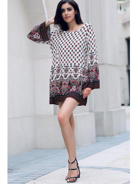 trendy Long Sleeve Printed Peasant Dress - WHITE S Mobile