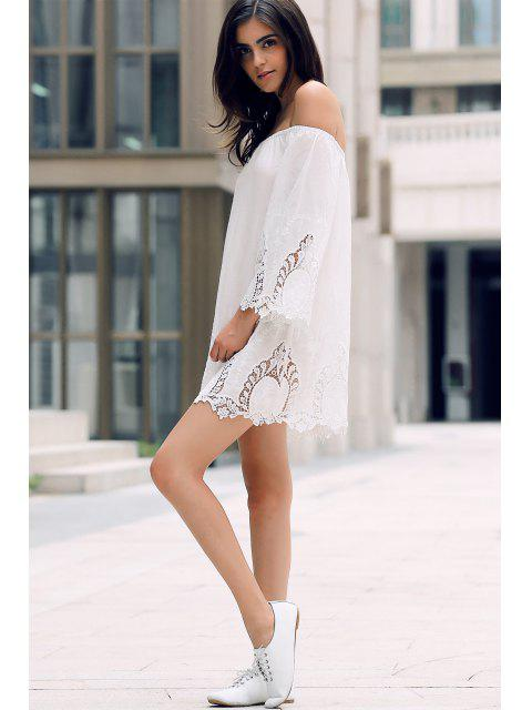 latest Off-The-Shoulder Lace Trim Dress - WHITE L Mobile