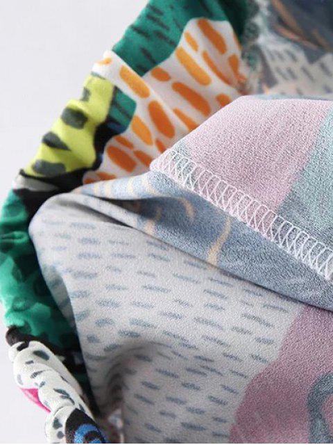Colorful imprimé taille haute Narrow Pieds Pantalons - Vert S Mobile