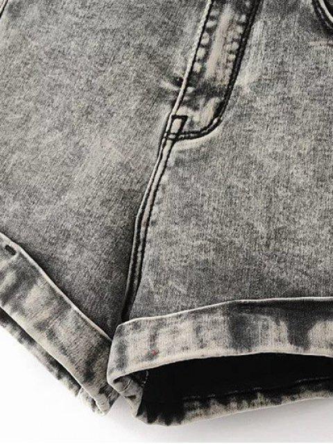 fancy Snow Wash Denim Shorts - BLUE 25 Mobile