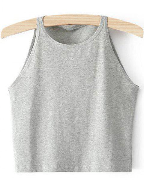 hot Cropped Ribbed Tank Top - LIGHT GRAY XS Mobile