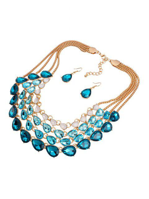 lady Multilayered Jewelry Necklace and Earrings - BLUE  Mobile