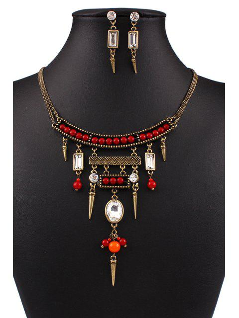 ladies Bullet Bead Ethnic Necklace and Earrings - GOLDEN  Mobile