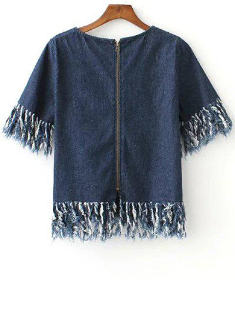 shops Zip Back Fringed Denim T-Shirt - BLUE L Mobile