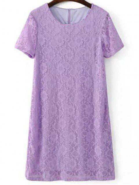 À manches courtes en dentelle Robe droite - Violet Clair S Mobile