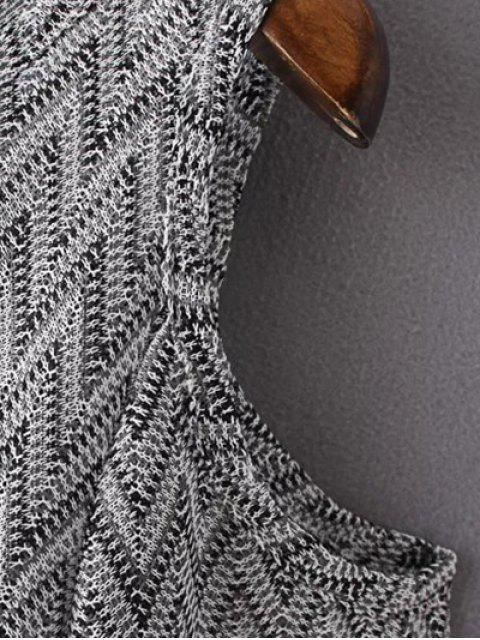 T-shirt col rond épaule dénudée imprimé zigzag - Noir S Mobile