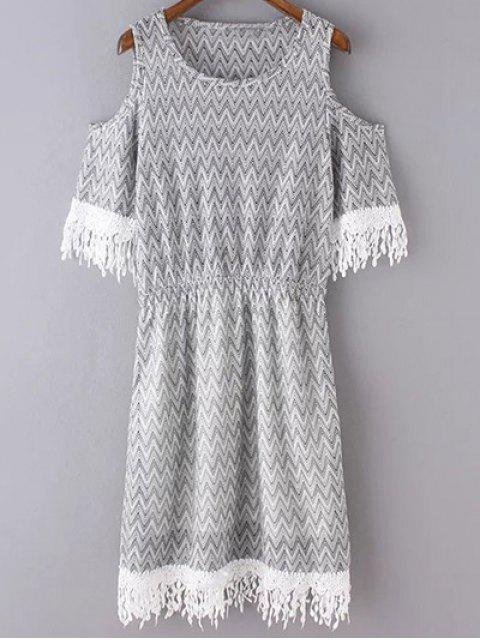 chic Cold Shoulder Round Neck Zig Zag Print Dress - LIGHT GRAY S Mobile