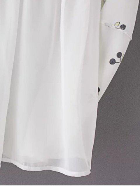 hot Cherry Print Stand Neck 3/4 Sleeve Dress - BLACK M Mobile
