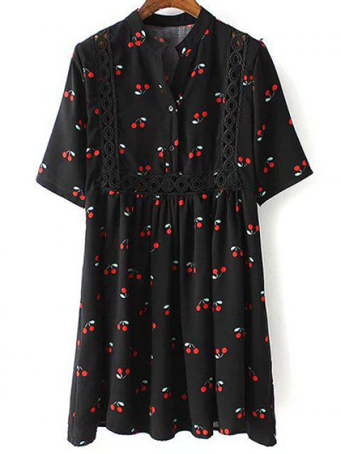 hot Cherry Print Stand Neck 3/4 Sleeve Dress - BLACK M Mobile