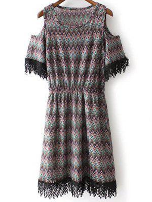 Cold Shoulder Col Rond Zig Zag Print Dress - Noir S