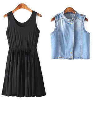 Stylish Black A Line Sundress And Denim Waistcoat Women's Twinset - Black M