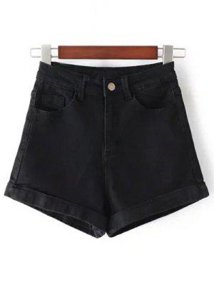 High-Rise Denim Shorts - Black 25
