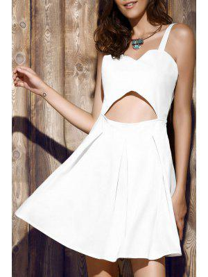 Bare Midriff Strap Dress - White 2xl