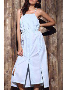 Buy High-Low Hem Spaghetti Straps Dress - LIGHT BLUE XL