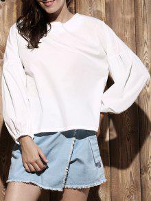 Puff Sleeve Round Collar Solid Color Blouse - White 2xl
