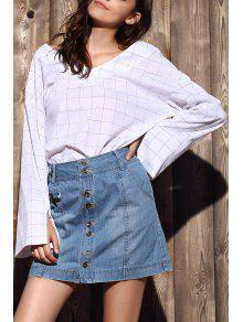 Checked High-Low V Neck Flare Sleeve Blouse - White 2xl