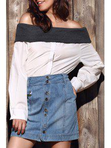 Loose Hit Color Long Sleeve Off The Shoulder Shirt - White S