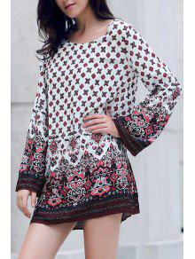 Long Sleeve Printed Peasant Dress - White M