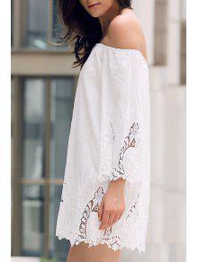 Off-The-Shoulder Lace Trim Dress - White Xs