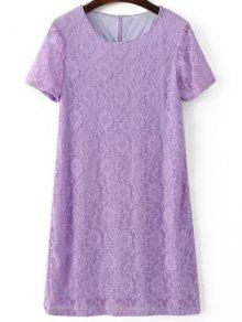 Short Sleeve Lace Shift Dress - Light Purple S