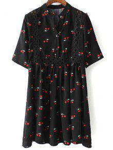 Cherry Print Stand Neck 3/4 Sleeve Dress - Black L