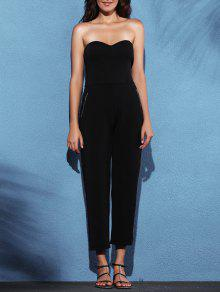 Zippered Fitted Bandeau Jumpsuit - Black Xl
