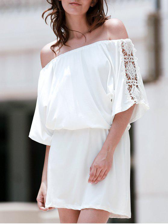 Vestido en A Línea con Encaje Insertado Fuera del Hombro - Blanco L