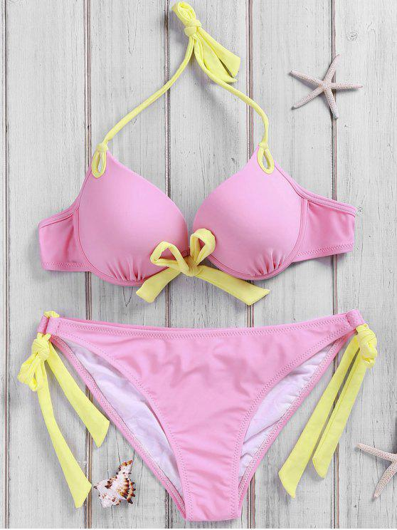 Side-Tie Pink Bikini Set - Rosado S