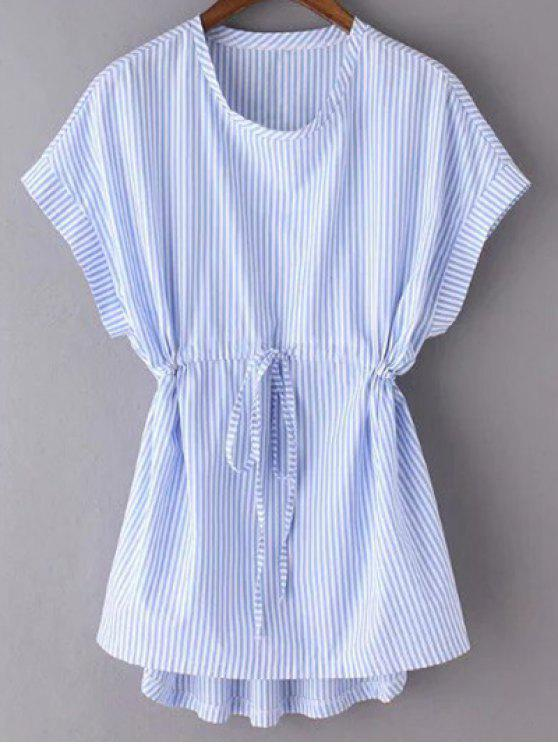 lady Striped Drawstring Front Top - BLUE S
