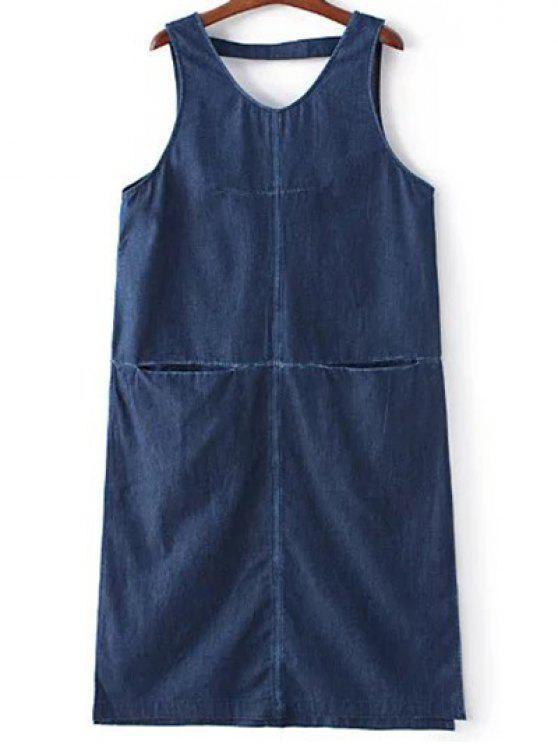 unique Two-Pocket Sleeveless Denim Dress - DEEP BLUE L