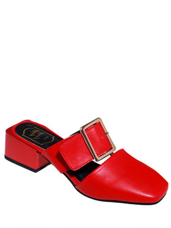 new Solid Color Buckle Chunky Heel Slippers - RED 35