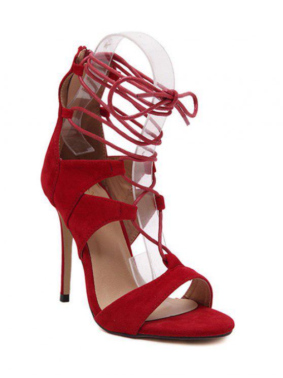 Con cordones de color sólido de las sandalias del tacón de aguja - Rojo 39