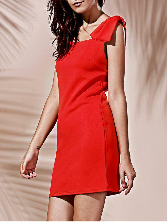 chic Square Neck Bowknot Mini Cocktail Dress - RED M