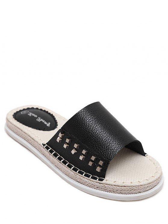 sale Flat Heel Rivet Weaving Slippers - BLACK 39