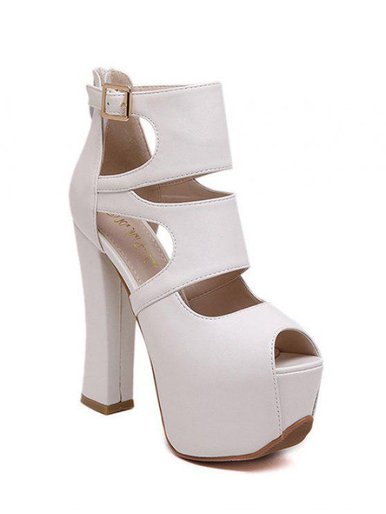 ladies Peep Toe Solid Color Chunky Heel Sandals - WHITE 39