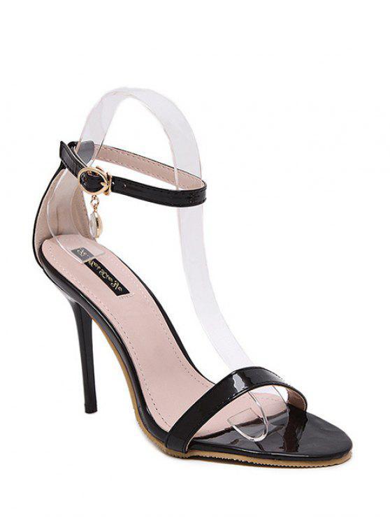 women's Pendant Ankle Strap Stiletto Heel Sandals - BLACK 38