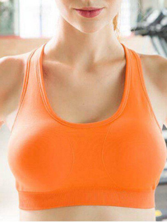 online Sporty Solid Color U-Neck Cropped Tank Top - ORANGE S
