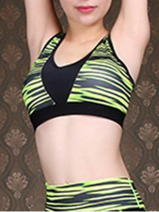 affordable Green Stripe U-Neck Cropped Tank Top - GREEN M