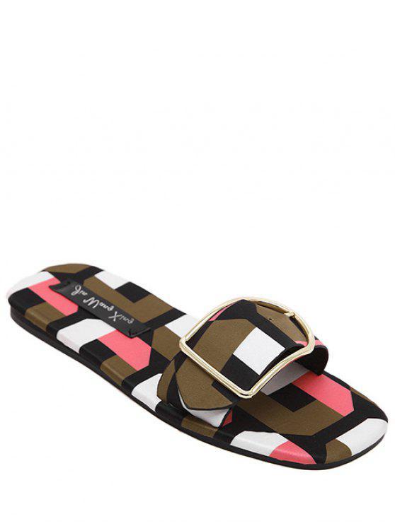 hot Color Block Buckle Flat Heel Slippers - PINK 36