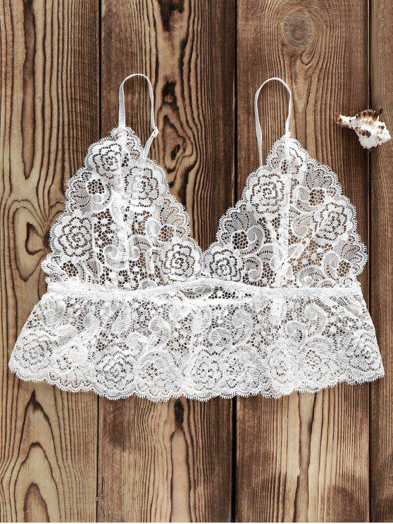 Crop Top en Dentelle Transparente - Blanc XL