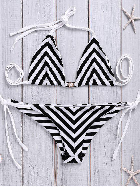 cb2775fbe72 24% OFF] 2019 Chevron Stripe Tie-Side Bikini Set In WHITE AND BLACK ...