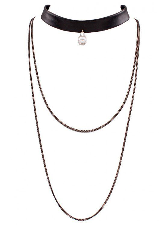ladies PU Leather Multilayered Chain Necklace - BLACK