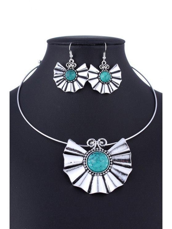 outfits Faux Turquoise Ethnic Style Necklace and Errings - GREEN